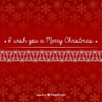Merry Christmas with Snowflakes Pattern Free Vector