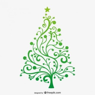 Minimalist Green Christmas Tree Free Vector