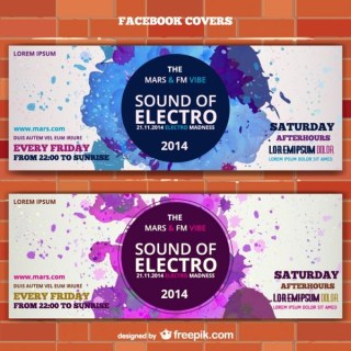 Mockup Electro Music Banner Ticket Invitation Free Vector