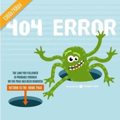 Monster of The Drain 404 Error Design Free Vector