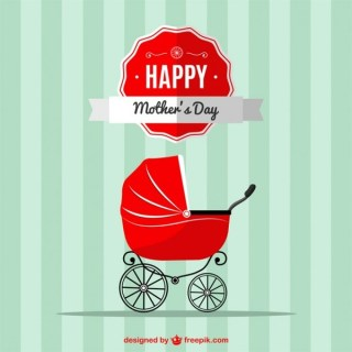 Mother's Day Baby Stroller Design Free Vector