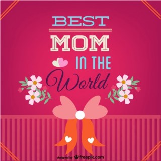 Mother's Day Best Mom Card Free Vector