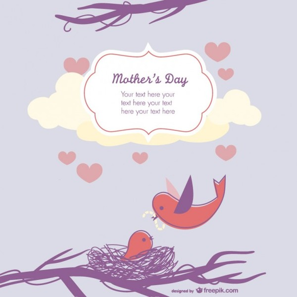 Mother's Day Cute Birds Illustration Free Vector