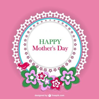 Mother's Day Floral Lace Card Free Vector