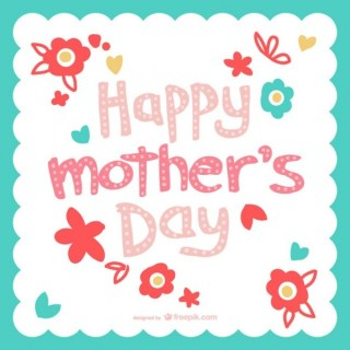 Mother's Day Flowers Typography Card Free Vector