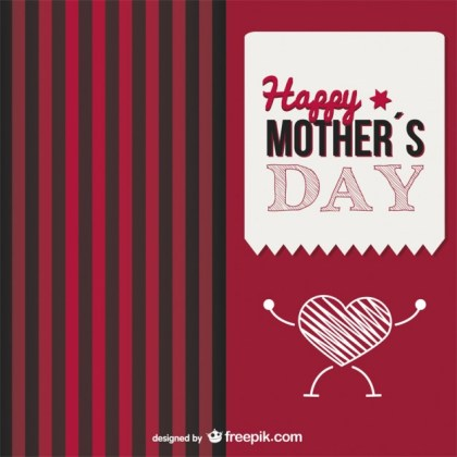 Mother's Day Heart Love is Strong Card Free Vector