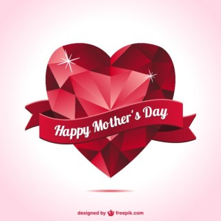 Mother's Day Heart Shape Card Free Vector