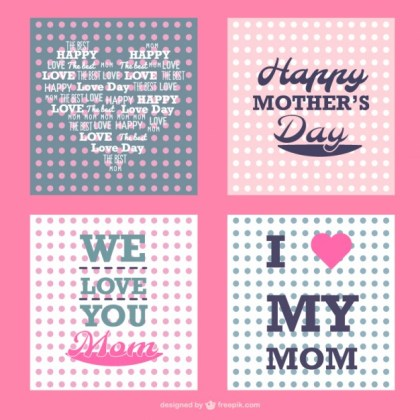 Mother's Day Polka Dots Cards Set Free Vector