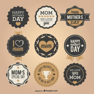 Mother's Day Retro Badges Set Free Vector