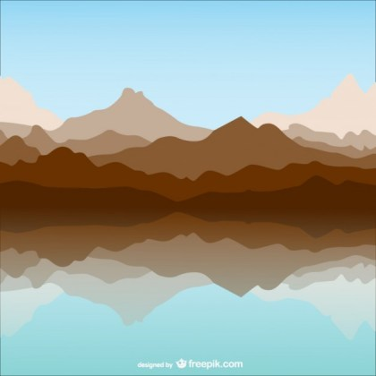 Mountain and Lake Template Landscape Free Vector