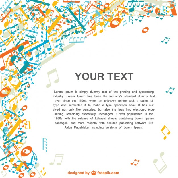 Music Colorful Music Notes Design Free Vector