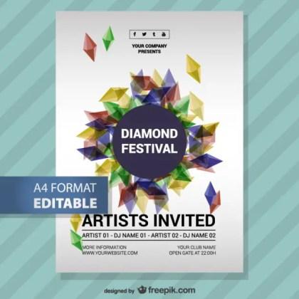Music Festival Diamond Poster Free Vector