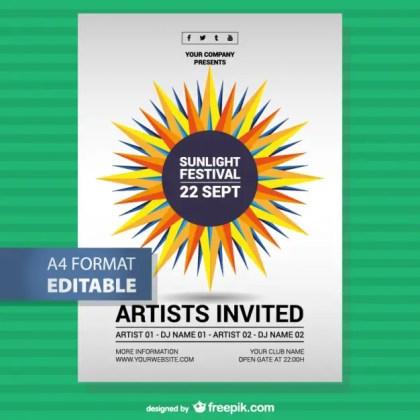 Music Festival Sunlight Poster Free Vector