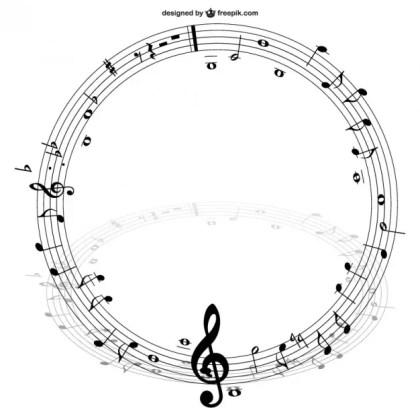Music Notes Circle Free Vector