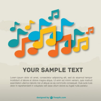 Music Notes Colorful Template Free Vector