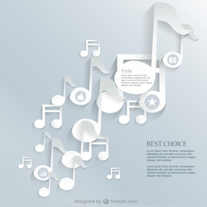 Music Notes Paper Style Background Free Vector