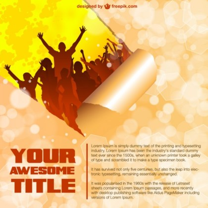 Music Party Curled Page Free Vector