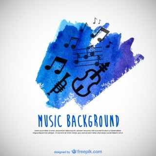Music Watercolor Background Free Vector