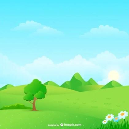 Natural Landscape Cartoon Free Vector