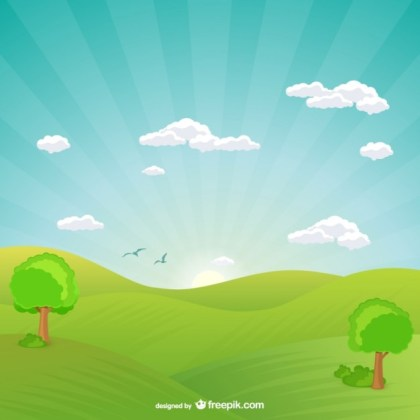 Natural Landscape with Sunset Free Vector
