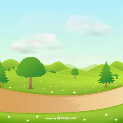Natural Landscape with Trees Free Vector