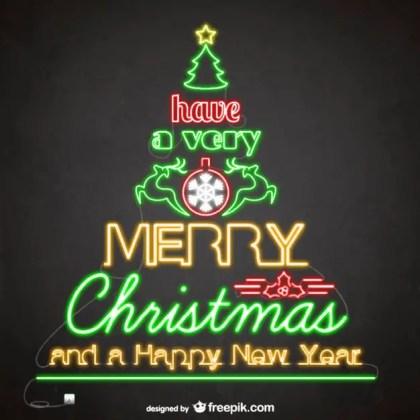 Neon Christmas Card Free Vector