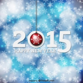 New Year Card with Snowflakes Free Vector