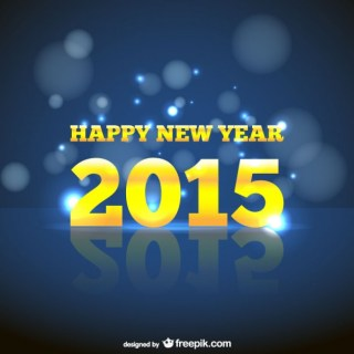 New Year Card with Yellow Letters Free Vector