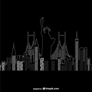 New York Night Time Free Vector