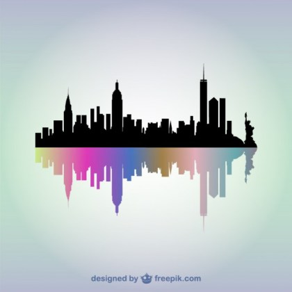 New York Skyline Art Free Vector