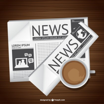 Newspaper and Coffee Art Free Vector