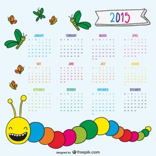 Nice Drawing Worm and Butterflies 2015 Calendar Free Vector