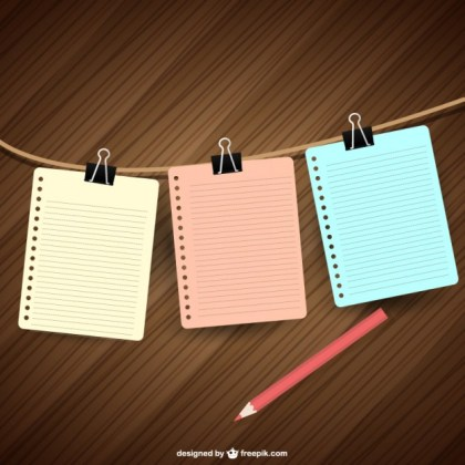 Notebook Papers Hanging Free Vector