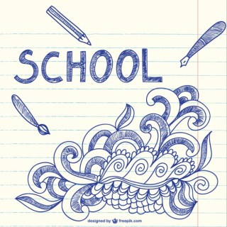 Notebook with School Sketchy Doodles Art Free Vector