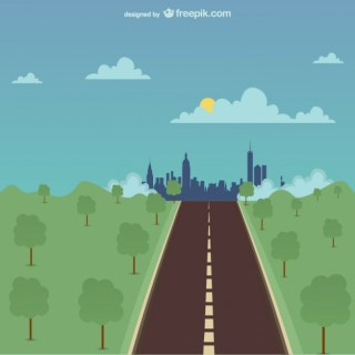One Road Illustration Free Vector