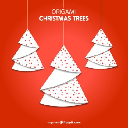 Origami Christmas Trees Free Vector