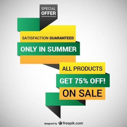 Origami Discount Design Free Vector