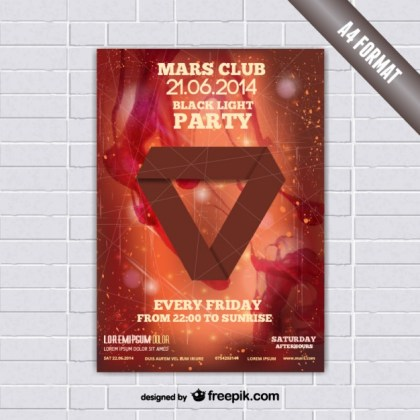 Origami Triangle Mockup Poster Free Vector