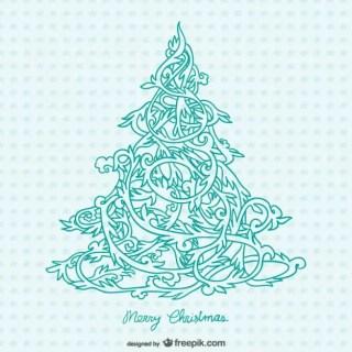 Ornamental Christmas Tree Free Vector
