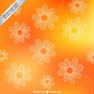 Outlines of Flowers on Orange Background Free Vector