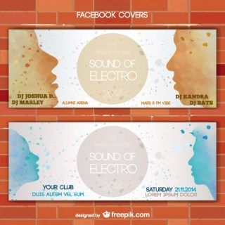 Painted Faces Silhouettes Banner Set Free Vector