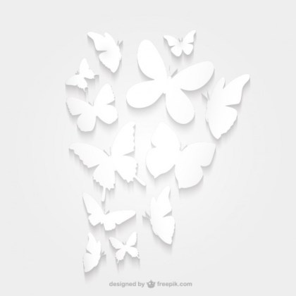 Paper Butterfly Silhouette Pack Free Vector