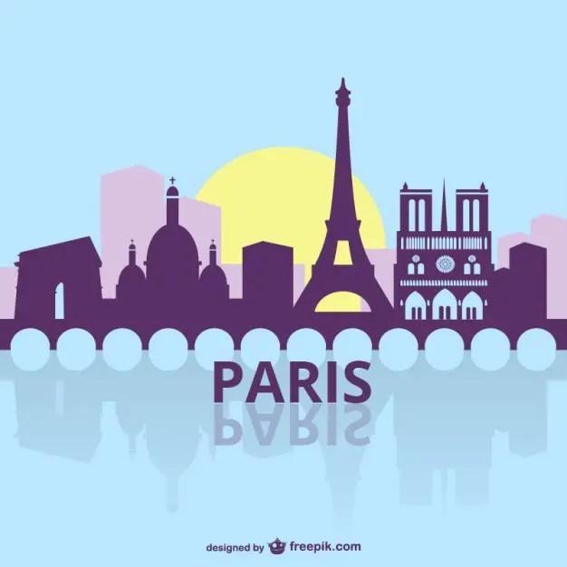 Paris Cityscape Silhouette Free Vector