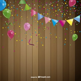 Party Background with Garlands and Balloons Free Vector