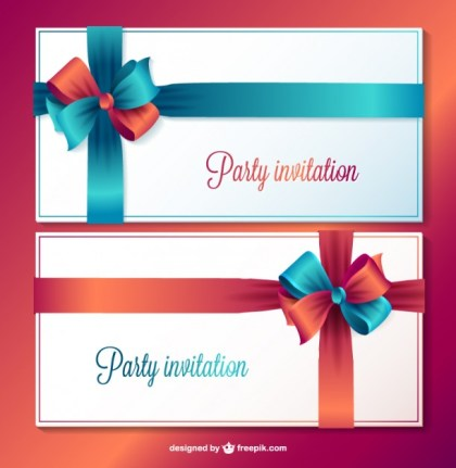 Party Invitation Cards Free Vector