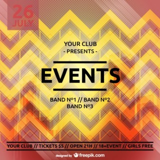 Party Poster Zig Zag Template Free Vector