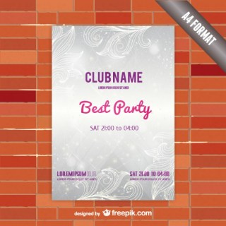 Party Template Poster with Ornaments and Lines Background Free Vector