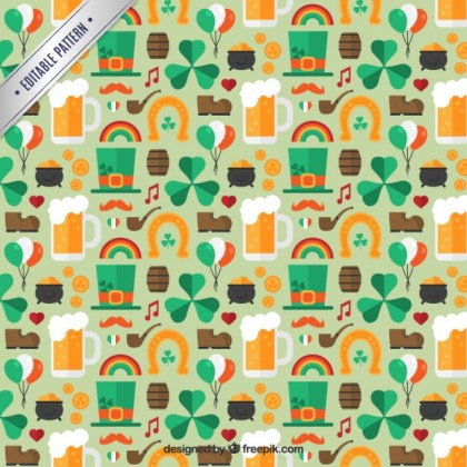 Pattern with St Patrick Charms Free Vector