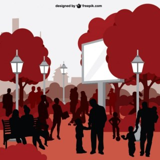 People in City Park Silhouette Art Free Vector