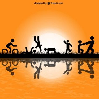 People Silhouettes Exercise in Park V Free Vector